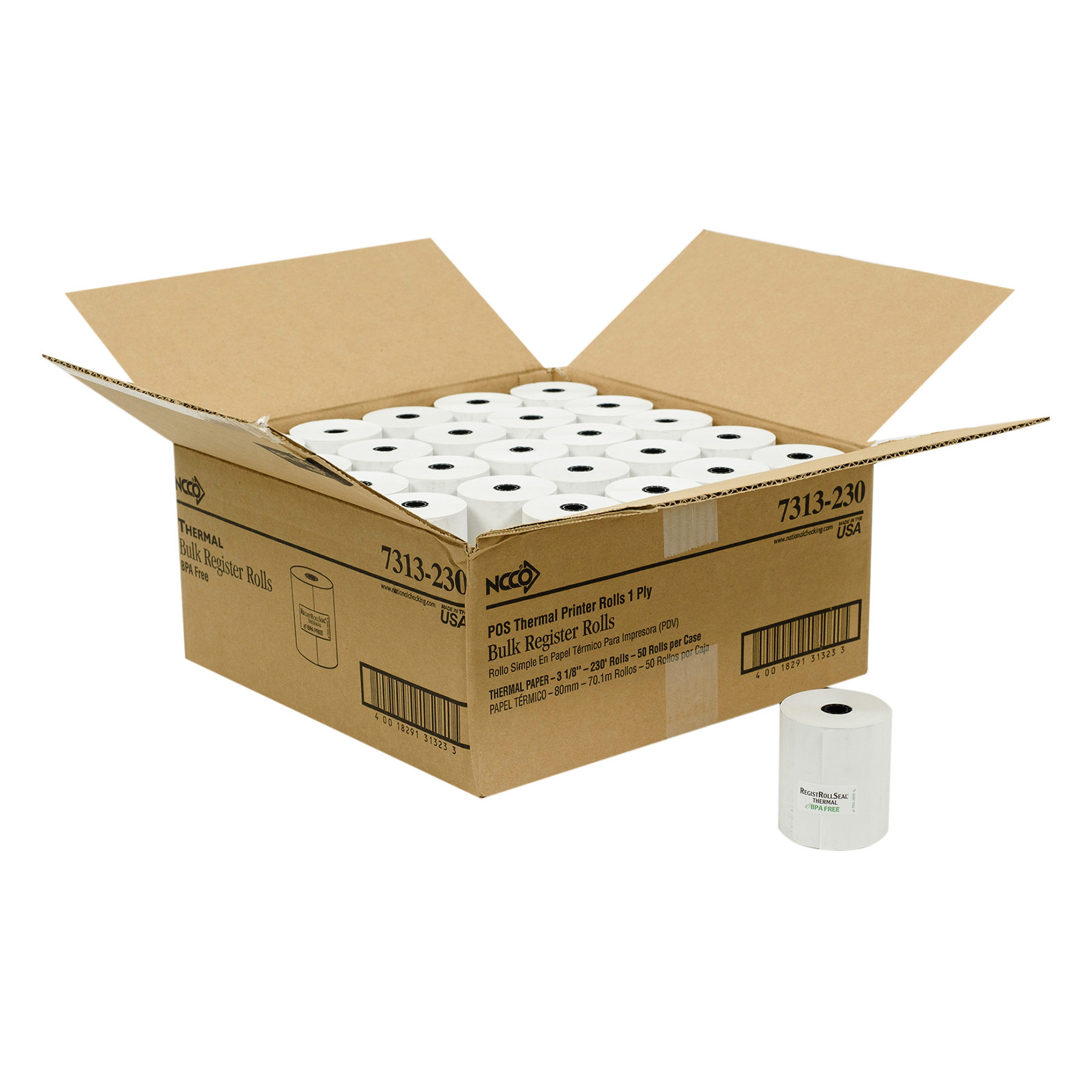 """Register Roll 3.13"""" x 230' 1 Ply White Thermal POS Front of House"""